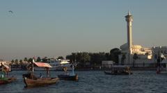 Dubai, United Arab Emirates - Al Bastakyia Mosque on the Dubai Creek Stock Footage