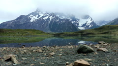 Tranquil view of a lake in Torres del Paine NP Stock Footage