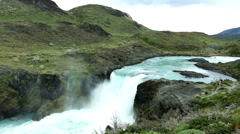 Wide-angle shot of a waterfall in Torres del Paine NP Stock Footage
