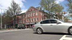 Alexandria Virginia busy traffic downtown intersection fast HD Stock Footage