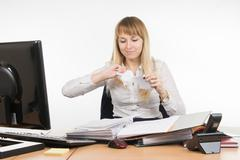 Business woman tearing paper document Stock Photos