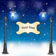 Winter evening landscape with vintage lampposts Stock Illustration