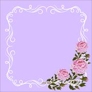 Vintage frame with curl decoration and pink peonies Stock Illustration