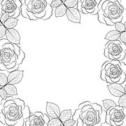Simple floral frame in black isolated on white background - stock illustration