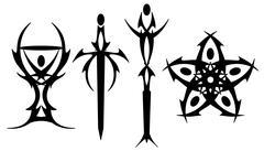Black tarot tattoos Stock Illustration