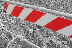 barrier inside a construction site, black and whte effect - stock photo