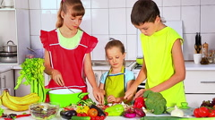 Children cooking at kitchen Stock Footage