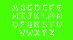 Stock Video Footage of Alphabet - Green Screen - Letters White