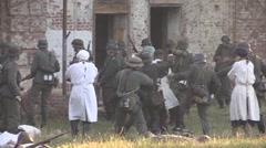 German soldiers mock doctors Stock Footage