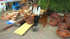 Traditional craft of weaving baskets. Stock Footage