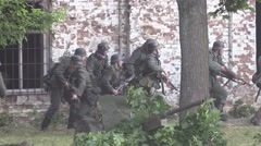 German soldiers attacked the building Stock Footage