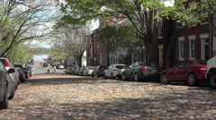 Alexandria Virginia cobblestone rock road traffic HD Stock Footage