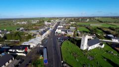 Aerial footage of Borrisokane Town in County Tipperary in Ireland. Stock Footage