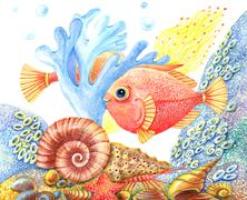 watercolor retro underwater world with a fish - stock illustration