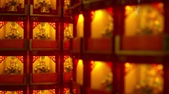 Statues represents a donation to the temple in Thean Hou Temple - stock footage