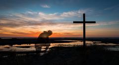 Sunset Prayers By Cross Stock Photos
