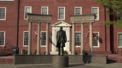 Annapolis Maryland State Court historical Thurgood Marshall statue HD 064 Stock Footage
