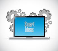 smart ideas tech computer sign concept - stock illustration