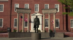 Annapolis Maryland State Court historical Thurgood Marshall statue security Stock Footage