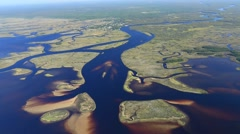 Florida coast aerial Suwannee into gulf Stock Footage