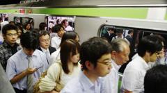 Rush Hour at Shinagawa Train Platform - stock footage