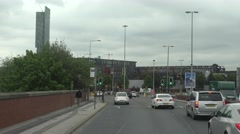 4K POV Point of view car pass Manchester freeway local route busy avenue daytime Stock Footage