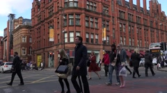 4K Busy intersection street traffic car Manchester people travel city center day - stock footage
