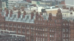 4K Amazing English architecture red brick traditional building Manchester old UK Stock Footage