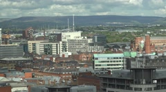 4K Panoramic view Manchester crowded cityscape amazing landscape suburban area  Stock Footage