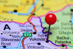 Vukovar pinned on a map of Croatia Stock Photos