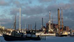 Finland: Bearing Sea Ship Yard in Winter Stock Footage