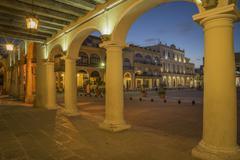 Illuminated arches in Havana city square, Havana, Cuba Stock Photos