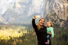 Caucasian mother and daughter in Yosemite National Park, California, United Stock Photos