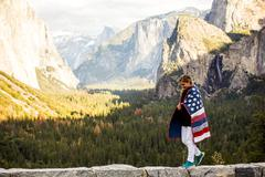 Caucasian woman in Yosemite National Park, California, United States Stock Photos
