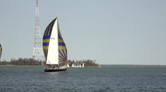Annapolis Naval Academy Sailing sailboats Midshipmen HD Stock Footage