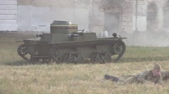 Stock Video Footage of Soviet amphibious tank rides (imitation 1941