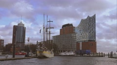 Hafen City Hamburg with Elbphilharmonie building - stock footage