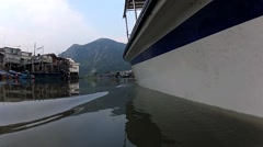View from the cruise boat in Tai O fishermen village in Hong Kong, China. Stock Footage