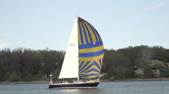 Annapolis Naval Academy Sailing Squadron sailboats fast HD Stock Footage