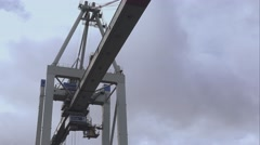 Huge container crane Tollerort container terminal Stock Footage