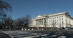 Stock Video Footage of Intersection in front of The Treasury Department Washington DC
