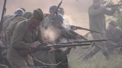 Soviet soldiers are going to attack (imitation 1941 Stock Footage