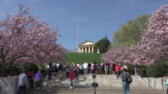 Arlington Cemetery Eternal Flame President Kennedy grave tourists HD Stock Footage