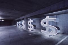 Dollar signs in parking lot - stock illustration