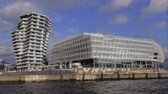 Stock Video Footage of Futuristic buildings of Hafen City Hamburg