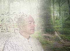 Pixelated Caucasian man in forest - stock illustration