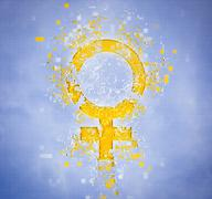 Pixelated female symbol on blue background Stock Illustration