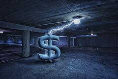 Dollar sign electrifying light in parking lot - stock illustration