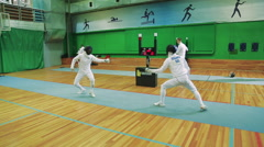 Fencer Train in the Hall - stock footage