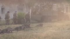 A series of powerful explosions near the Soviet border guards Stock Footage